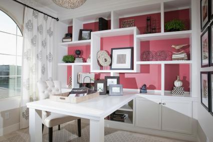 contemporary white and pink office decor