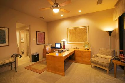 Soft yellow lighting in home office