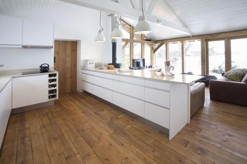 contemporary minimalist barn-style kitchen
