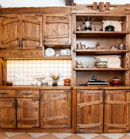 rustic wood cabinets