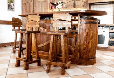rustic wood table and chairs