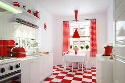 Cherry red checked kitchen decor