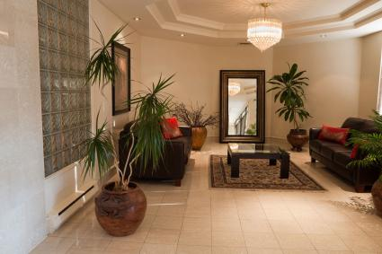 Lobby of downtown apartment building