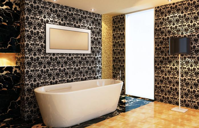 Bathroom with luxury wallpaper