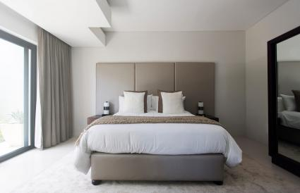 Modern white and beige bedroom