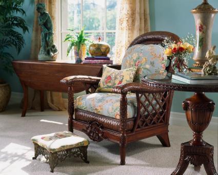 Elegant Floral Wicker Armchair