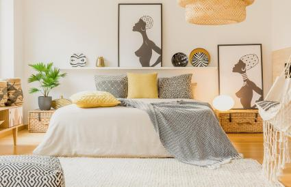 Warm modern bedroom interior