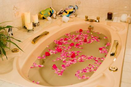 Tub filled with tropical flowers