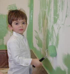 boy painting walls