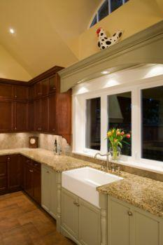 Under cabinet lights make counter top space usable.