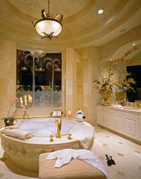 Hang a chandelier over the tub for added elegance and lighting.