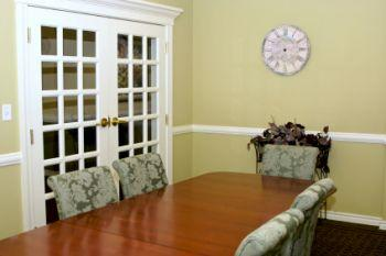 French doors allow more light into room.
