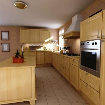 Kitchen with Wooden Hood