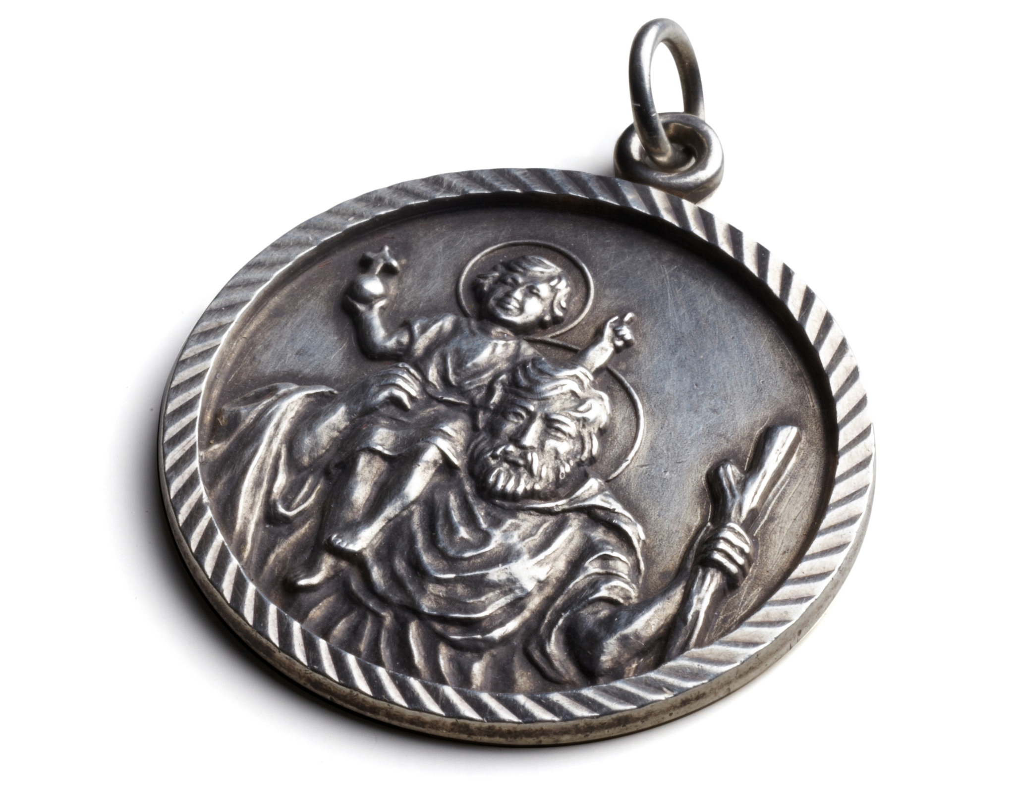 width silver p saint weight grams christopher length medal medallion sterling