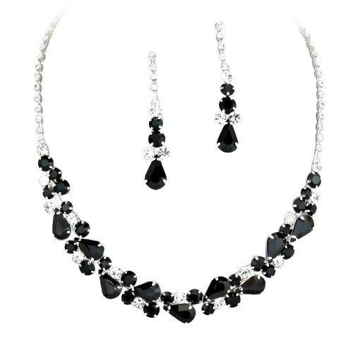 elegant black necklace jewellery statement formal jet jewelry crystal htm set