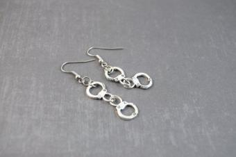 handcuff silver earrings