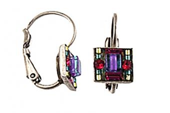 Firefly Small Square Mosaic Earring Silver Tone