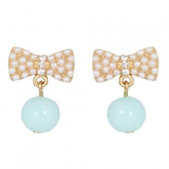 Le Petite Princess Turquoise Bow Drop Clip On Earrings