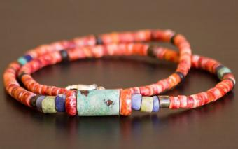 Restrung strand of ancient Peruvian spondylus and stone beads.