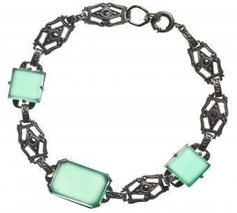 Marcasite antique bracelet with green stones