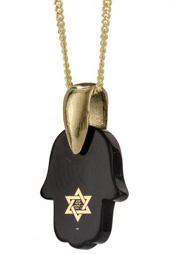 Shema Israel: 14K Yellow Gold and Black Onyx Nano-Inscribed Hamsa Necklace