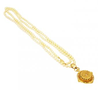 Gold Diamond Vintage Pocket Pendant watch with Akoya Pearl Necklace
