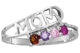 Personalized Sterling Silver Genuine Birthstone Ring