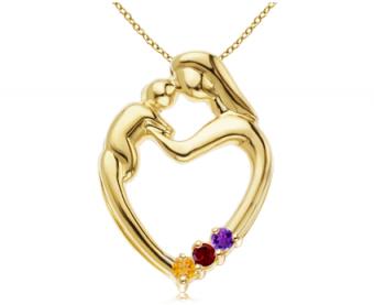 Customizable Mother & Child Heart Pendant