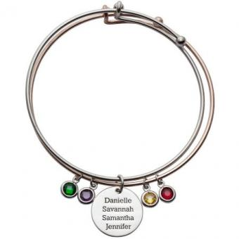 Expandable Double-Bangle Bracelet with Charms