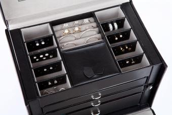 Black leather earring box