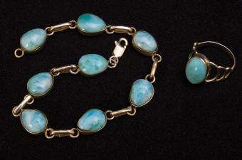Larimar bead bracelet and ring jewelry