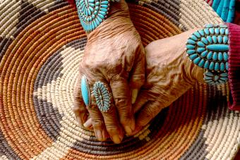Senior Woman Wearing Traditional Turquoise Jewelry