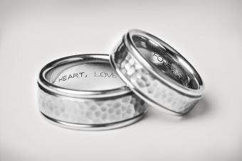 Silver Wedding Bands with heart, love, and forever inscriptions