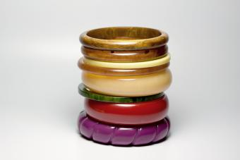 Multi-color vintage art deco bakelite bangle bracelets