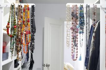 Necklaces hanging on rack