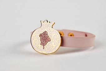 Pink leather and gold cuff bracelet