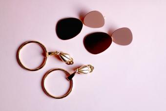 Two pairs of golden earrings