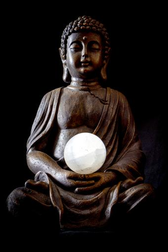 Buddha in Meditaion Posture with a moonstone orb