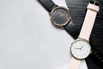 Two watches black and pink
