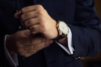 Man wearing suit with nice watch