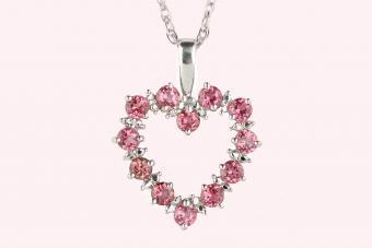 Pink topaz white gold pendant