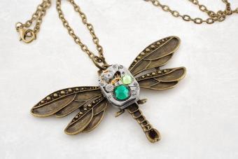 Steampunk bronze dragonfly pendant