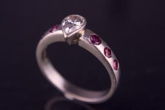 Pink & White Diamond Engagement/Wedding Ring