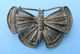 Vintage pewter butterfly brooch