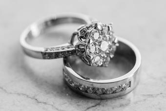 Platinum engagement ring set