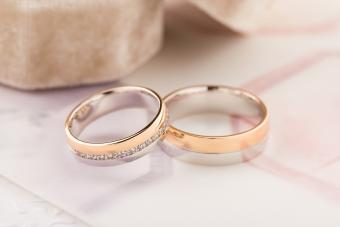 Two-tone wedding rings - rose and white gold