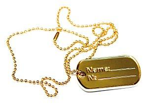 Gold dog tag on ball chain.