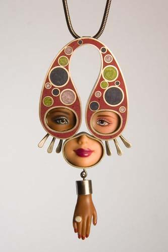 Multi-ethnic Barbie necklace by Margaux Lange