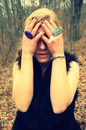Model wearing Hiya Moon jewelry