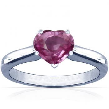 Heart Shape Pink Sapphire Tapered Cathedral Setting Solitaire Ring from GemsNY, Photo courtesy GemsNY